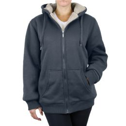 12 of Women's Loose Fit Oversize Full Zip Sherpa Lined Hoodie Fleece - Charcoal Size X Large