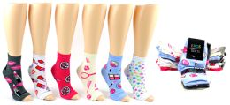 240 of Women's Pedicure Socks - Assorted Prints - Size 9-11