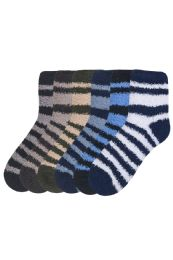120 of Mens Striped Plush Soft Socks Size 10-13