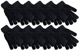 48 of Womens Black Chenille Winter Glove
