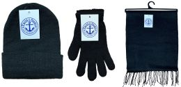 72 of Yacht & Smith 3 Piece Winter Care Set, Solid Black Hat Glove Scarf Bulk Buy