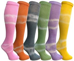 6 of Yacht & Smith 6 Pairs Girls Tie Dye Knee High Socks, Anti Microbial, Soft Touch, Kids