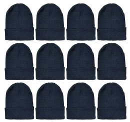 240 of Yacht & Smith Black Beanies Bulk Thermal Winter Hat Solid Black