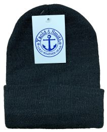 2400 of Yacht & Smith Black Unisex Winter Warm Beanie Hats, Cold Resistant Winter Hat Bulk Buy