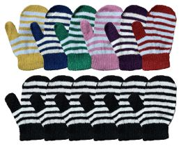 240 of Yacht & Smith Kids Striped Mitten With Stretch Cuff Ages 2-8 Bulk Buy