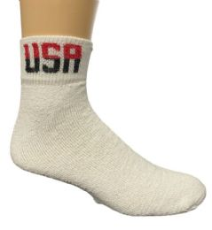 120 of Yacht & Smith Men's King Size Cotton USA Sport Ankle Socks Size 13-16 Solid White USA Print