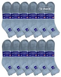 12 of Yacht & Smith Men's Loose Fit NoN-Binding Cotton Diabetic Ankle Socks, Gray King Size 13-16