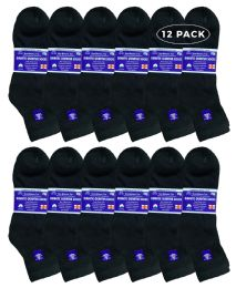 6 of Yacht & Smith Men's Loose Fit NoN-Binding Cotton Diabetic Ankle Socks Black King Size 13-16