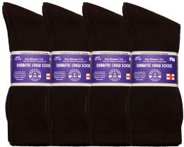 12 of Yacht & Smith Men's King Size Loose Fit Diabetic Crew Socks, Brown, Size 13-16