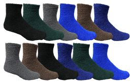 60 of Yacht & Smith Men's Warm Cozy Fuzzy Socks Solid Assorted Colors, Size 10-13