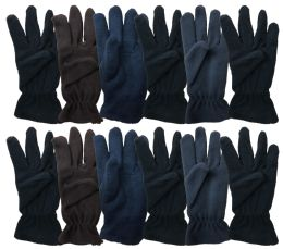144 of Yacht & Smith Mens Double Layer Heavy Fleece Gloves Packed Assorted Colors Bulk Buy