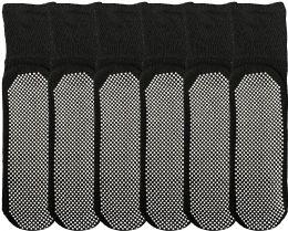 6 of Yacht & Smith Mens Loose Fit Gripper Bottom Diabetic NoN-Skid Slipper Black Socks, Grippy Hospital Sock, Size 10-13
