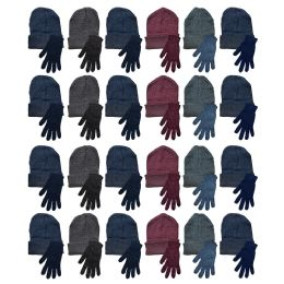 96 of Yacht & Smith Mens Warm Winter Hats And Glove Set Assorted Colors 96 Pieces