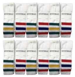 12 of Yacht & Smith Men's Cotton Tube Socks, Referee Style, Size 10-13 White With Stripes