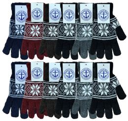240 of Yacht & Smith Snowflake Print Mens Winter Gloves With Stretch Cuff 240 Pairs Bulk Buy