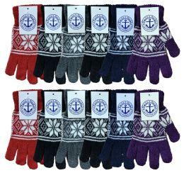 240 of Yacht & Smith Snowflake Print Womens Winter Gloves With Stretch Cuff 240 Pairs Bulk Buy