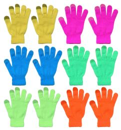 144 of Yacht & Smith Unisex Neon Winter Texting Gloves, Warm Thermal Winter Gloves Bulk Buy
