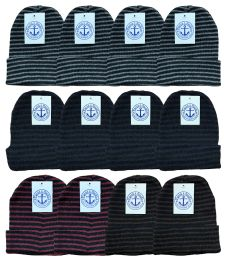 144 of Yacht & Smith Unisex Winter Knit Hat With Stripes 144 Pack Bulk Buy