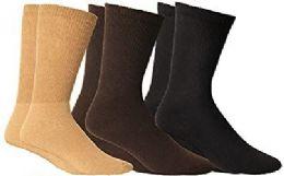 3 of Yacht & Smith Women's Cotton Diabetic Non-Binding Crew Socks - Size 9-11 Assorted Brown, Khaki, Black