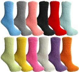 24 of Yacht & Smith Women's Solid Color Gripper Fuzzy Socks Assorted Colors, Size 9-11