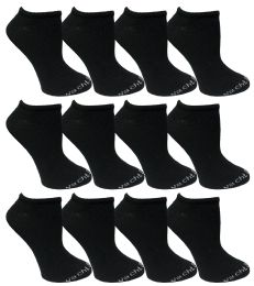 480 of Yacht & Smith Womens 97% Cotton Low Cut No Show Loafer Socks Size 9-11 Solid Black Bulk Buy