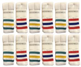 72 of Yacht & Smith Women's Cotton Striped Tube Socks, Referee Style Size 9-15 22 Inch