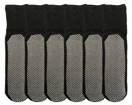6 of Yacht & Smith Womens Loose Fit Gripper Bottom NoN-Skid Slipper Socks ,yoga, Trampoline Socks Solid Black, Size 9-11
