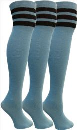 3 of Yacht&Smith Womens Over the Knee Socks, 3 Pairs Premium Soft, Cotton Colorful Patterned (3 Pairs Copper Blue)