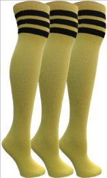 3 of Yacht&Smith Womens Over the Knee Socks, 3 Pairs Premium Soft, Cotton Colorful Patterned (3 Pairs Yellow)