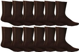 12 of Yacht & Smith Womens Soft Athletic Crew Socks, Terry Cotton Cushion, Sock Size 9-11 Brown