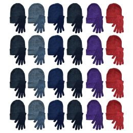 48 of Yacht & Smith Womens Warm Winter Hats And Glove Set Assorted Colors 48 Pieces