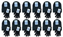480 of Yacht & Smith Womens Warm Winter Sets 240 Pairs Of Gloves And 240 Hats Solid Black