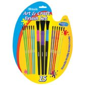144 of BAZIC Asst. Size Kid's Watercolor Paint Brush Set (15/Pack)
