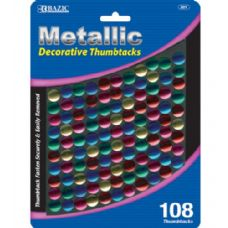 48 of BAZIC Assorted Color Decorative Thumb Tack (108/Pack)