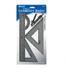 144 of BAZIC 4-Piece Geometry Ruler Combination Sets w/ Compass