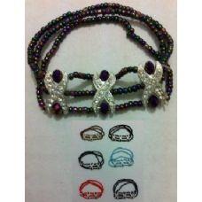 "36 of 7"" Elastic Beaded Bracelet--Rhinestone"