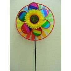 """120 of 13.5"""" Round Wind Spinner with Sunflower {Scalloped}"""