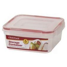 24 of 6 Piece Square Plastic Container with Click And Lock Lids
