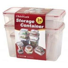6 of 24 Piece Plastic Container with Click And Lock Lids Assorted Sizes