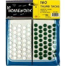 48 of Thumb Tacks 160 pk 80 white+40 red+40 green