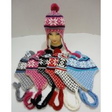 72 of Knit Cap with Ear Flap and PomPom-Snowflakes