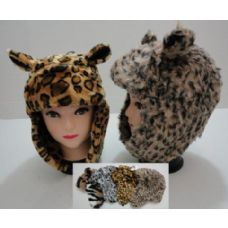 12 of Plush Bomber Hat with Fur Lining--Animal Print with Ears
