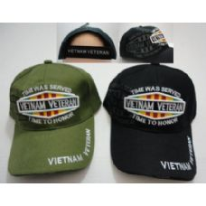 24 of Vietnam Veteran Hat w/ Shadow [TIME WAS SERVED-TIME TO HONOR]