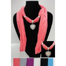 """12 of 70"""" Scarf Necklace-Heart Charm"""