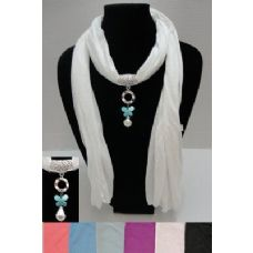 """12 of 72"""" Scarf Necklace-Butterfly/Pearl Charm"""