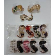 "48 of 3.5"" Swirl Hair Clip-Metallic Floral & ""G"""