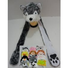 48 of Plush Animal Hats with Hand Warmers (Paw Print)