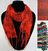 12 of Winter Light Scarf with Fringe--Roses/Leopard/Sparkle