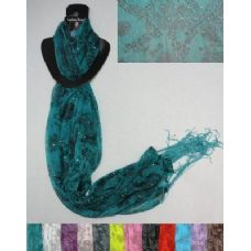 12 of Sheer Scarf with Fringe--Lg Roses/Leopard/Sparkle