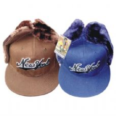 48 of Winter Cap w/ Ear Flap NY Print
